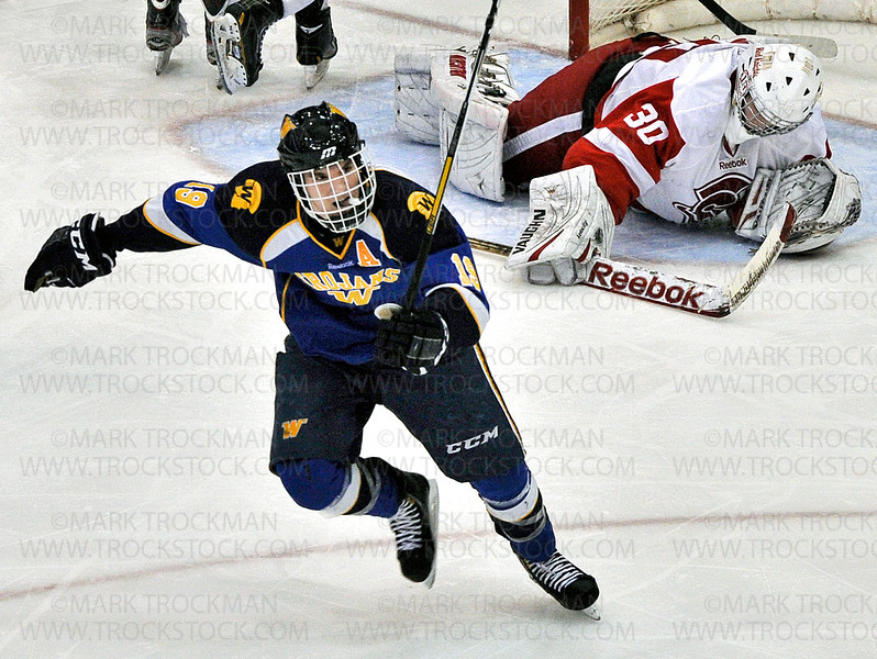 Trojans senior forward Chase Haller scores on Red Knights goalie Andrew Sprang during Wayzata's 5-2, Section 6-2A championship defeat of Benilde-St. Margaret's Wednesday, Feb. 27, at Mariucci Arena in Minneapolis.