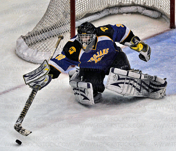 Trojans senior goalie Aaron Dingmann makes a stick save during Wayzata's 5-2, Section 6-2A championship defeat of Benilde-St. Margaret's Wednesday, Feb. 27, at Mariucci Arena in Minneapolis.