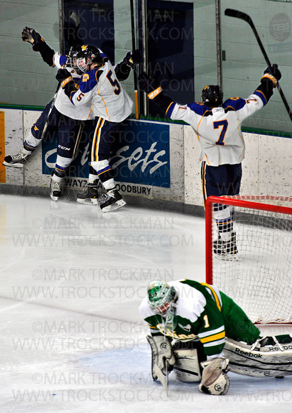 Wayzata freshman Maxwell Zimmer, left, is pounced on by forward Brian Machut (5) as senior Akash Batra (7) exults, after Zimmer's second-period goal against Edina goaltender Willie Benjamin Saturday Jan. 26, at Plymouth Ice Center.  The Hornets beat the Trojans in Lake Conference action 5-4.