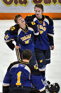 Trojans junior forward Jack Sorensen, left, can't hold back his emotions after Wayzata beat Benilde-St. Margaret's 5-2, to clinch the Section 6-2A championship Wednesday, Feb. 27, at Mariucci Arena in Minneapolis.