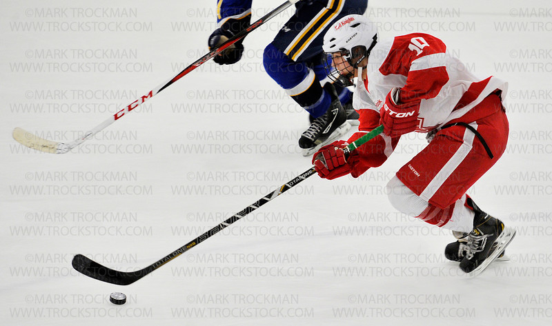 Benilde-St. Margaret's senior forward Dan Labosky (27) celebrates teammate Spencer Naas's first period goal against the Trojans Thursday, Jan. 3, at the St. Louis Park Rec Center.  The Red Knight's beat Wayzata 5-2.