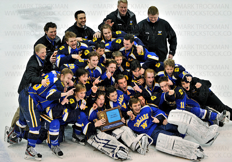 The entire Trojans squad poses with their hard-fought, Section 6-2A championship trophy after defeating Benilde-St. Margaret's 5-2 Wednesday, Feb. 27, at Mariucci Arena in Minneapolis.