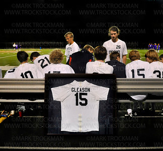 Colton Gleason's retired #15 jersey leans against the Orono bench preceding the start of the 2nd half of the Spartans 4-0 shutout of Wright Conference foe Glencoe-Silver Lake 4-0 Thursday, Sept. 27, at Orono.