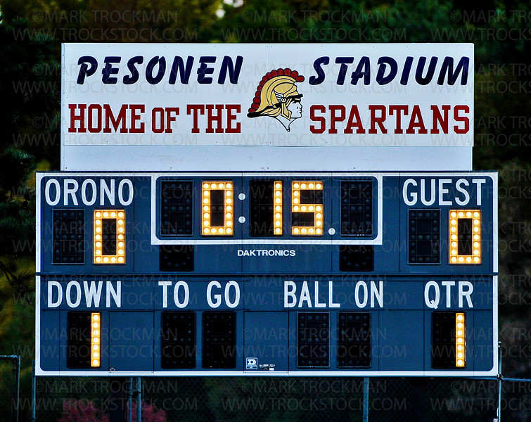The play clock was stopped at 15-seconds before the start of the match between Orono and Glencoe-Silver-Lake to help memorialize fallen alumni and past soccer team captain Colton Gleason Thursday, Sept. 27, at Orono.  The Spartans blanked Glencoe-Silver Lake 4-0.