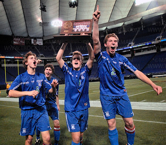 Members of the Blake Bears 2008 Minnesota state boys 1A soccer championship team celebrate their win after defeating Totino-Grace 1-0 Wednesday, Oct. 29 at the H.H.H. Metrodome in downtown Minneapolis.