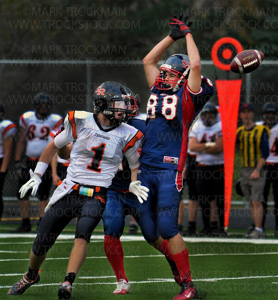 Spartans sophomore DB Sam Challgren (88) narrowly misses grabbing an interception from a pass meant for Thunderhawks wide receiver Patrick Flaherty in the second quarter of Orono's 35-21 defeat of Grand Rapids Friday, Oct. 7, in Long Lake.