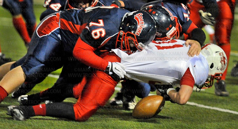 Spartans senior wide receiver Koller Adzick can't quite reach a Ben Turnham pass in early action Friday at Pesomen Stadium in Orono Oct. 5, 2012.  Orono blanked the White Hawks 28-0 in Wright County Conference play.