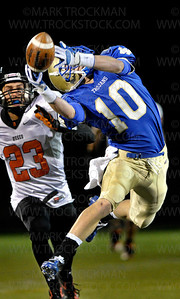Wayzata senior wide receiver Ethan Zeidler (10) narrowly misses catching a Nick Martin pass early in the first quarter.  Zeidler scored a touchdown to help the Trojans beat Osseo 30-7, clinching the section 5-5A title and a trip to St. Cloud State and the state tournament Friday, Nov. 4, at Wayzata High School.