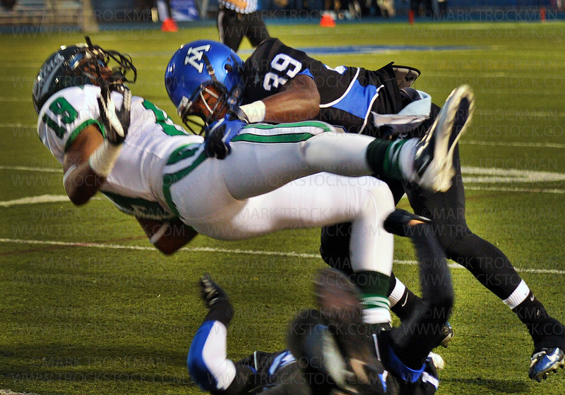 Skippers junior cornerback DeAndre Singleton (39) stops Edina wide receiver Marley Allison in his tracks Friday, Sept., 23, at Minnetonka.  Tonka beat the Hornets 28-14 for a Homecoming win.