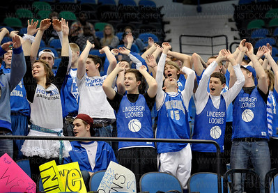 Hopkins High School fans made sure their team knew they were there with loud cheering and a defiant attitude Saturday, Mar. 19, at Target Center in Minneapolis.  The Royals went on to beat Eden Prairie 67-45 for the Class 4-A state title.