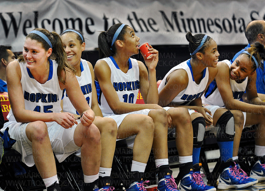 The Royals bench is all smiles and laughs near the end of Hopkins 77-55 state class 4A title win against Osseo at Target Center Saturday, March 17, 2012.