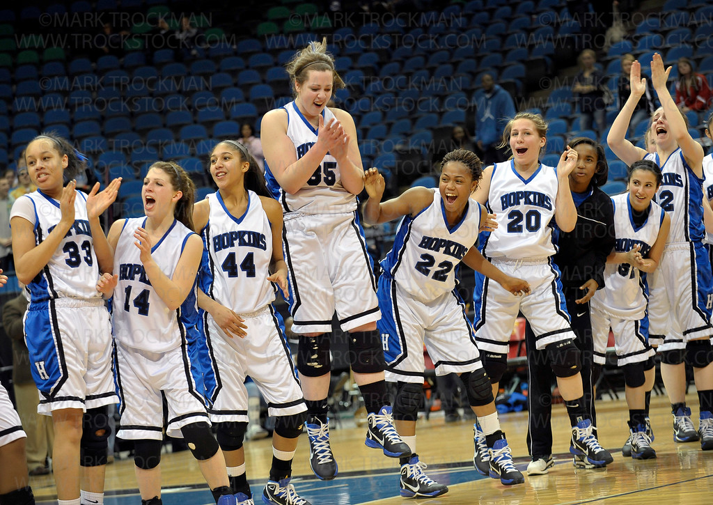 Hopkins players held nothing back in their play on the court or after their decisive 67-45 Class 4-A state championship win against Lake Conference rival Eden Prairie Saturday, Mar. 19, at Target Center in Minneapolis.