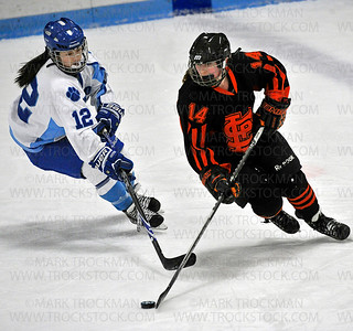 Orioles sophomore Makayla Jones-Klausing (14) skates around Jaguars sophomore Kristin Sako (12) Saturday, Jan. 17, at Bloomington Ice Garden.