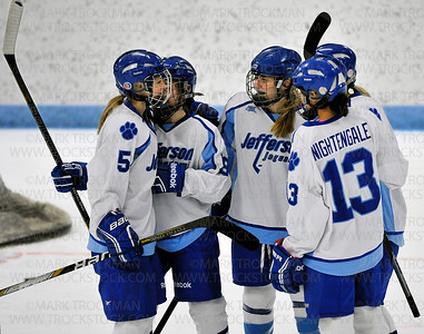 Jaguars senior Sabrina Smith (5) after scoring against St. Louis Park Saturday, Jan. 17, at Bloomington Ice Garden.