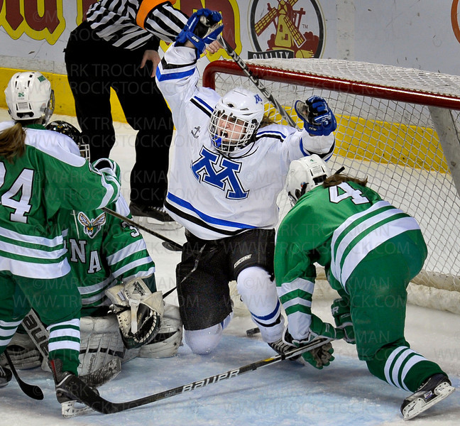 Minnetonka senior forward Courtney McDougal celebrates her goal in the first period against Edina to tie the score 2-2.  Minnetonka went on to win the Class 2A state championship 3-2 Saturday night, Feb. 26, at the Xcel Energy Center in St. Paul.