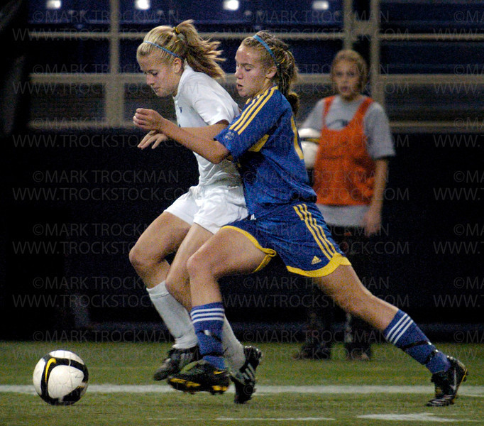 Wayzata's Taylor Wodnick moves the ball up the right sideline during second-half action Tuesday, Oct. 28 at the Metrodome in Minneapolis.   The Trojans lost their 2008 Minnesota state soccer tournament finale bid to Woodbury Tuesday, Oct. 28 at the H.H.H. Metrodome in Minneapolis.