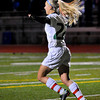 Blake junior midfielder Lydia Sutton exults after scoring the first of her two goals against Alexandria as the Bears shutout the Cardinals 2-0, Thursday, Oct. 25, in Roseville.