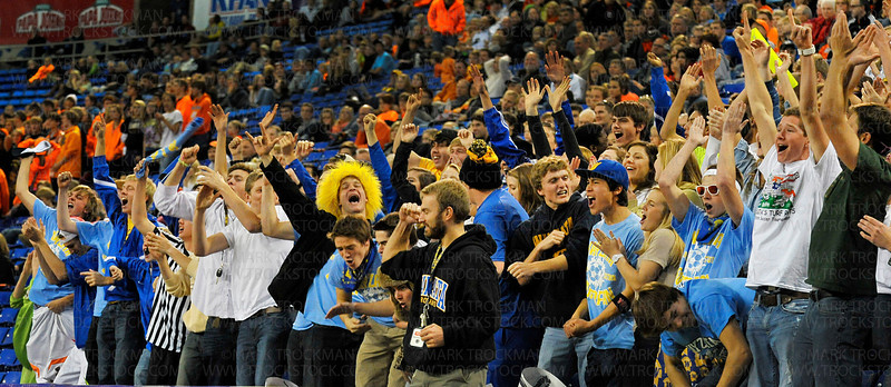 Trojans fans, friends and families roar after their team defeated the White Bear Lake Bears 2-0 to clinch the class 4A state championship win Thursday, Nov. 1, at the Metrodome in Minneapolis.