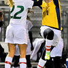 Blake senior goaltender Maddy Crawford, right, starts the night with a bang, connecting for a high-five with junior midfielder Lydia Sutton before shutting out Alexandria 2-0 for a class 1-A state tournament win Thursday, Oct. 25, in Roseville.