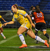 Wayzata senior midfielder Kylie Schwarz exults after scoring the Trojans first goal against White Bear Lake during the Trojans 2-0 class 4A state championship defeat of the Bears Thursday, Nov. 1, at the Metrodome in Minneapolis.