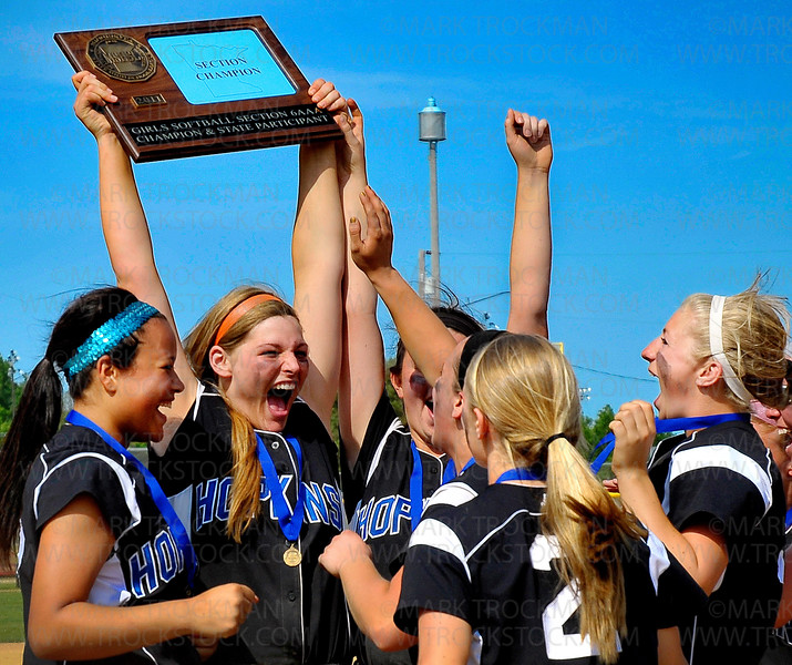 Hopkins players rejoice after their 9-2 Section 6-3A Fastpitch Tournament win over Wayzata Thursday, June 2, at Richfield Middle School.  The Royals advance to the state tournament.