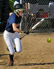Orono's Maddy Hinton successfully bunts her way to fist base in the 5th inning against Chaska Wednesday, May 11, at Orono High School.  The Spartans beat the Hawks 4-3.