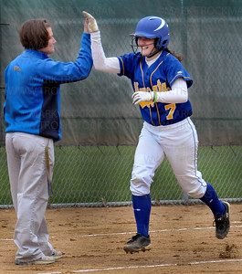 Wayzata's Jessica Williams rounds third base after hitting a home run against Hopkins Thursday, April 28.  Wayzata lost to their Lake Conference rivals 5-4.