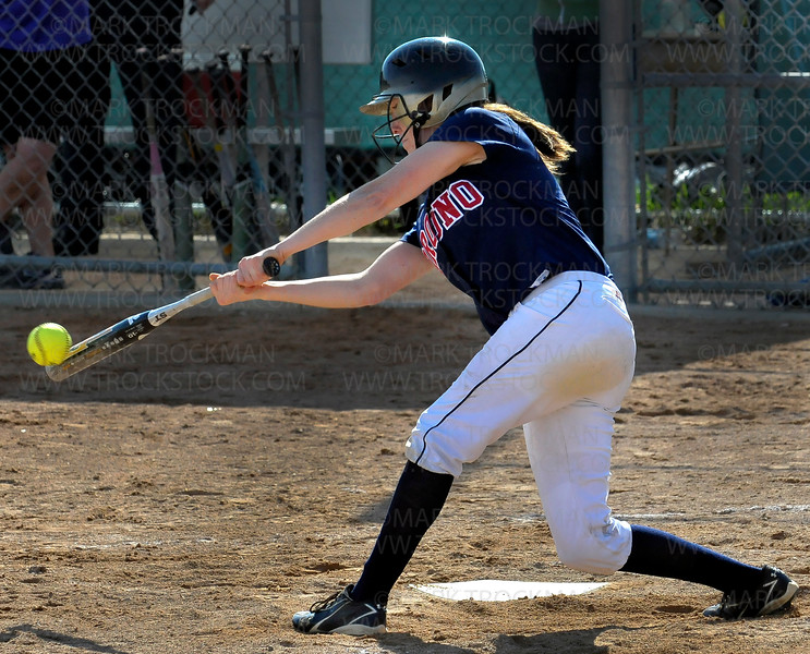 Orono catcher Shelby Early singles in the 3rd inning Wednesday, May 11, in the Spartans 4-3 defeat of Chaska at Orono High School.