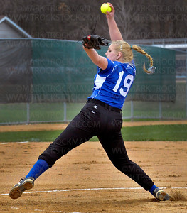 Hopkins pitcher Morgan Nybo lets one fly Thursday against Wayzata at Hopkins High School in Minnetonka Thursday, April 28.  The Royals beat the Trojans 5-4 in Lake Conference action.