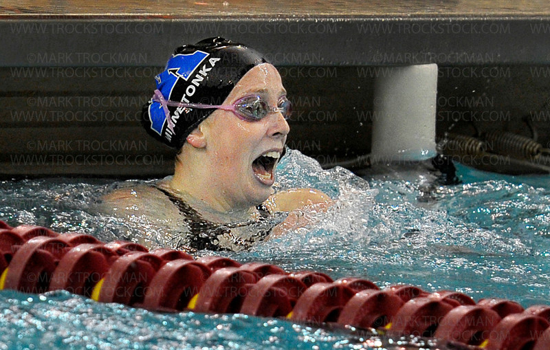 Skippers senior Amelia Schilling reacts to her section 2-A 200 Yard Freestyle state championship win Saturday, Nov. 17, at the University of Minnesota Aquatic Center in Minneapolis.  Schilling's posted time was 1:48.61.