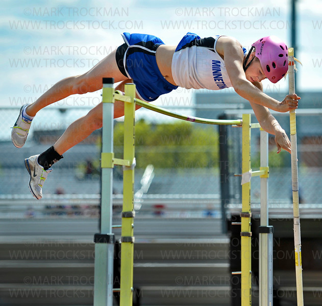 Minnetonka pole vaulter Anna Benke clears 11-feet at the True Team Track and Field meet Wednesday, May 9, at Eden Prairie High School.