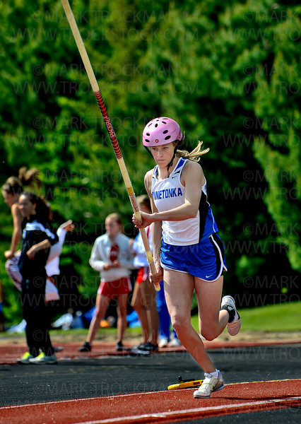 Minnetonka pole vaulter Anna Benke begins her run on her first attempt at 11-feet at the True Team Track and Field meet Wednesday, May 9, at Eden Prairie High School.  Benke topped 11-feet on her first attempt.