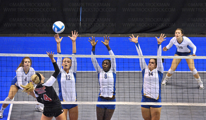 The Wayzata squad, left to right, Mikayla Greely, Julia Doyle, Toni Okuyemi, Jessica Kegel and Bri Adams used everything they had against Lakeville North but came up short in the class 3A state volleyball championship match.  The Trojans lost to the Panthers 25-13, 25-18, 25-13 Saturday, Nov. 13. at Xcel Energy Center in St. Paul.