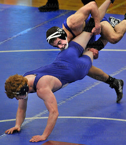 Wayzata senior Weston Droegemueller, top, beat Minnetonka junior Ethan Klein 10-2 in their 138-pound, semifinal match at the Section 6 wrestling tournament Saturday, Feb. 16, at Robbinsdale Armstrong High School in Plymouth.