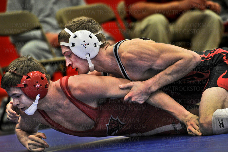 Mound-Westonka senior Tyler Hebig, top, pinned his Wilmar opponent, Eli Gunderson, at 3:05 in their 145-pound, semifinal match at the Section 6 wrestling tournament Saturday, Feb. 16, at Robbinsdale Armstrong High School in Plymouth.