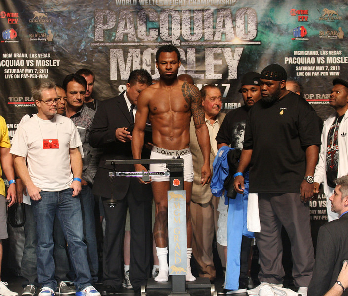 Manny Pacquiao and Shane Mosley arrive for their official weigh-in before an estimated 8,000 fans with Pacquiao weighing in at 145 lbs and Mosley at 147 lbs.  Mosley takes on Pacquiao for the World Welterweight Championship on May 7th, 2011 at the MGM Grand Garden Arena in Las Vegas, Nevada.