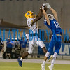 Palatka sophomore Ommarion Wilson (16) goes up over Clay junior Reid Waugh (12) for an interception in the fourth quarter. Fran Ruchalski/Palatka Daily News