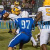 Palatka senior Demontae Ashley (14) gets off a long pass as Clay defenders close in during the fourth quarter. Fran Ruchalski/Palatka Daily News