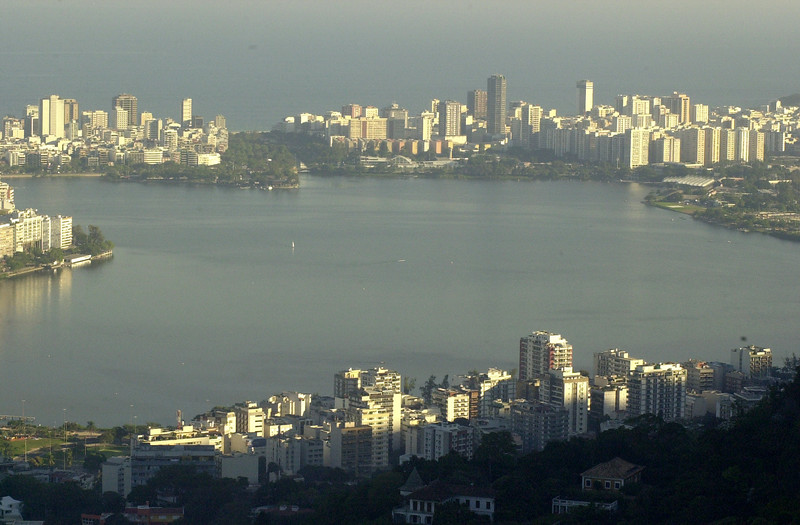 A view of the Rodrigo de Freitas lagoon in Rio de Janeiro, site of the Pan-Am games rowing competition, which is surrounded by Ipanema and Leblon, top, and Jardim Botanico, Bottom. (AustralFoto/Douglas Engle)