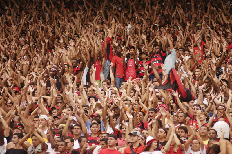 Fans of Flamengo suport their team in the Guanabara Cup in the Maracana stadium in Rio de Janeiro, Brazil, Feb. 21, 2004. Flamengo beat Fluminense 3-2. The stadium is site of the opening ceremony of the Pan-Am Games in July 2007. Soccer will also be played in the stadium, built for the 1950 World Cup and updated this year.(AustralFoto/Douglas Engle)