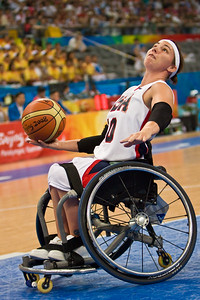 USA athlete Stephanie Wheeler sets up for a shot at the National Indoor Stadium