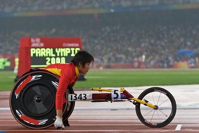 Chinese athlete ZHOU Hongzhuan at the start of the 400m T53