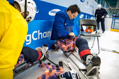 US Paralympic Sled hockey team practices before the start of competition at the PyeongChang 2018 Paralympic Winter Games