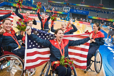 US women's wheelchair basketball team celebrate after winning gold against AUS