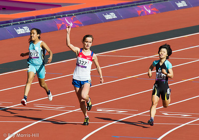 Athletics action in the Olympic Stadium, 8 September, 2012.  Elena Ivanova (RUS) wins her heat of the Women's 100m T36.  She won Gold in the final in the evening session.