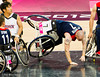 Terry Bywater (GB) takes a tumble