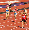 Athletics action in the Olympic Stadium, 8 September, 2012. Neda Bahi of Tunisia wins Gold in the Women's 400m T37 final.