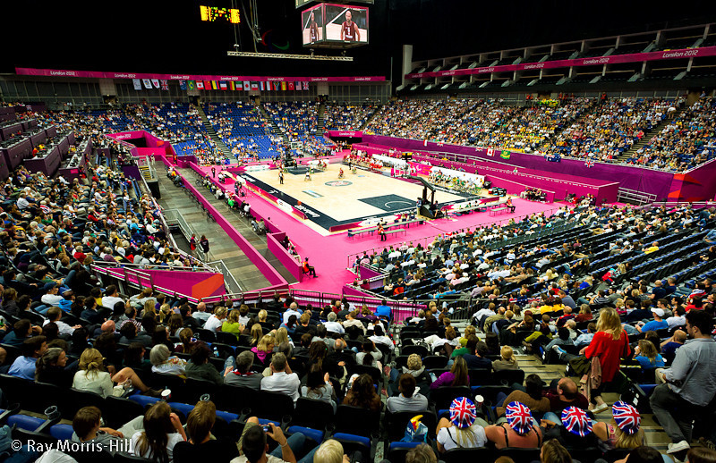The North Greenwich Arena on 5 September 2012 and it is quarter-finals day for the Men's Wheelchair Basketball tournament