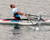 Carlos Vysocki of Argentina puts in a colossal effort in the single sculls repechage at Eton Dorney on Saturday 1st September 2012.   He finished last but got the biggest cheer.