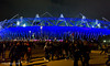 Crowds leaving the Olympic Stadium after a great night of athletics